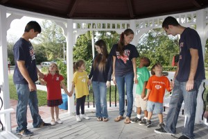 Grandview students enjoying a House activity in the gazebo.